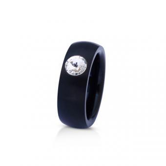 Ring schwarz mit Kristall