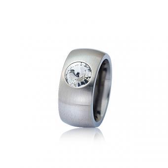 Edelstahl-Ring mit Swarovski-Stein 50  