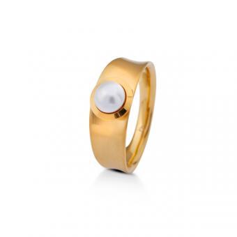 Ring gelbgold mit Swarovski-Perle