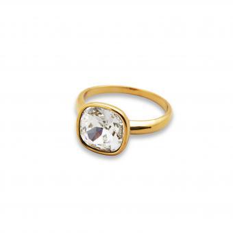 Edelstahl-Ring gelbgold beschichtet mit Swarovski Stein
