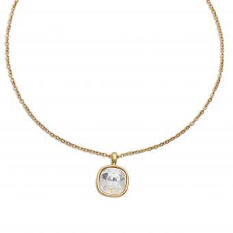 Edelstahl-Kette gelbgold beschichtet mit Swarovski-Stein